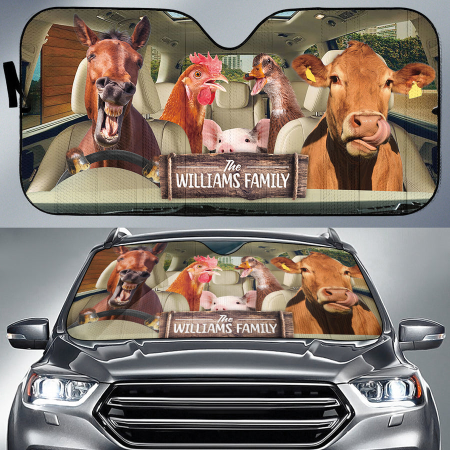 Personalized Driving Farm Animals Right Hand Drive Auto Sun Shade