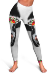 Red Flowers Dairy Cows Cropped Hoodie And Leggings Set