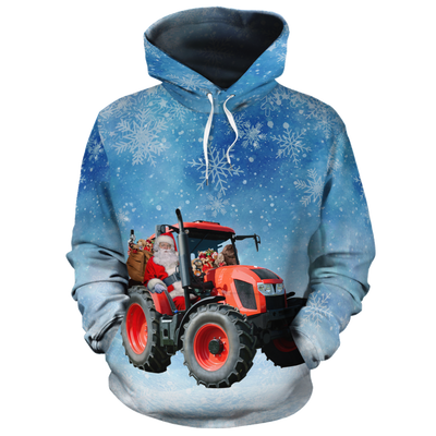 Santa Claus Drives A Tractor All-over Hoodie
