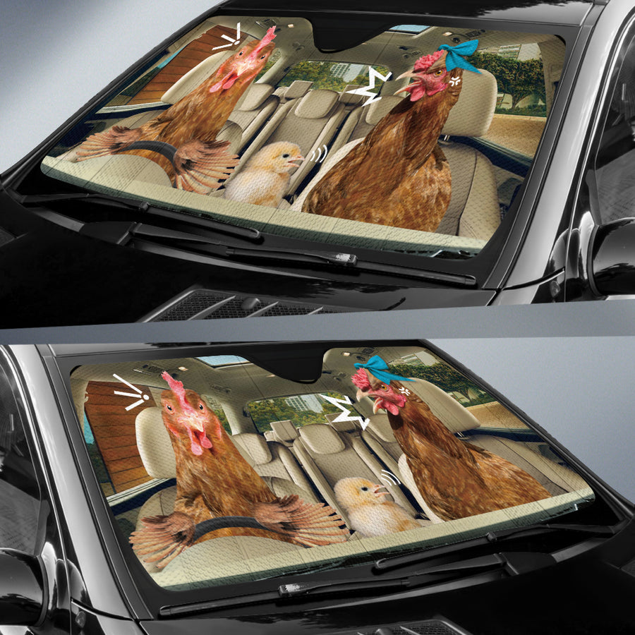 The Funny Couple Chickens 2 Right Hand Drive Auto Sun Shade