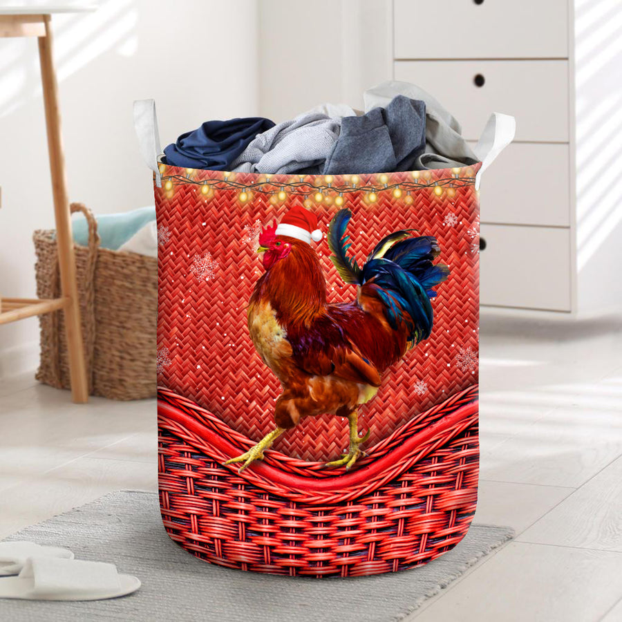 Xmas Chicken Rattan Pattern Laundry Basket