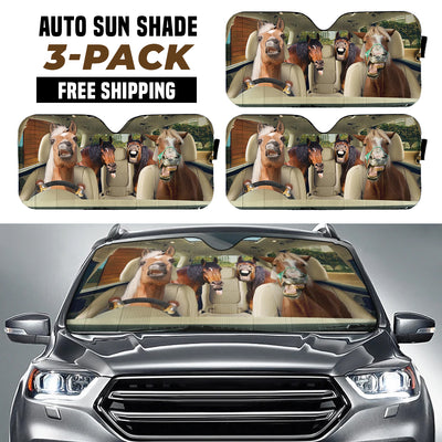 Funny Horses Right Hand Drive Version Auto Sun Shade