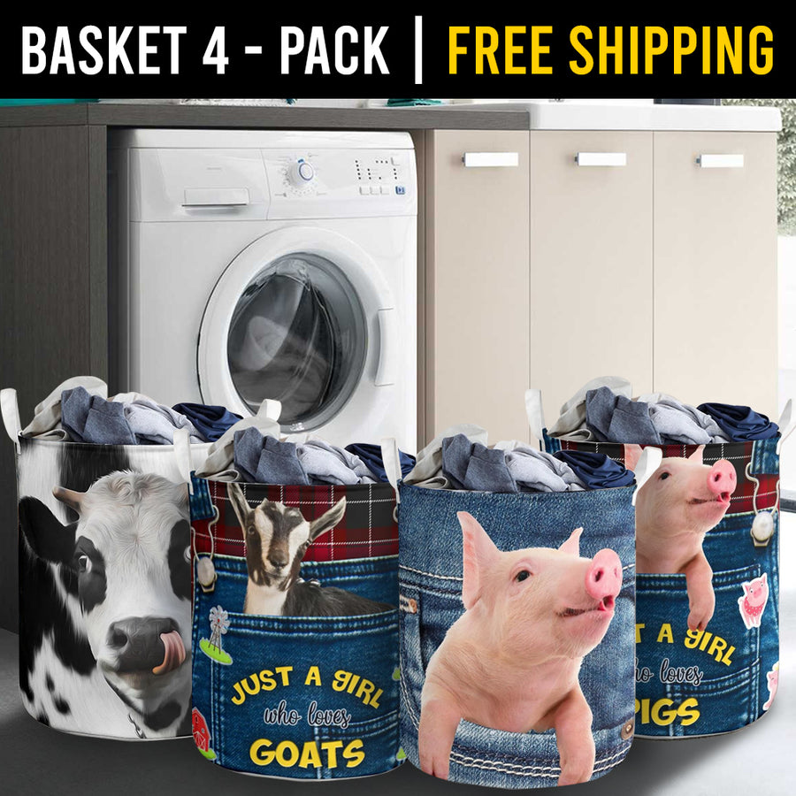 Farm Animals Laundry Basket Combo 4 Pack-4