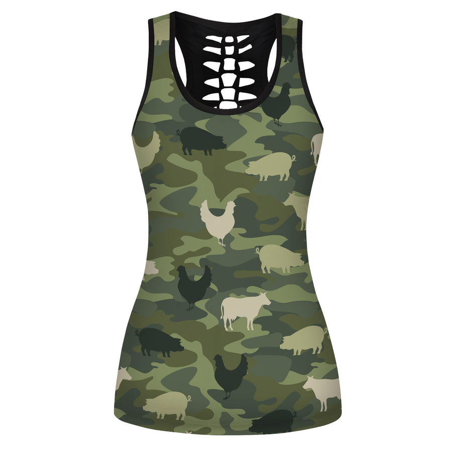 Farming Animals Camo Hollow Tank Top And Legging Set