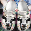 Floral Cute Face Dairy Cow Crocband Clog