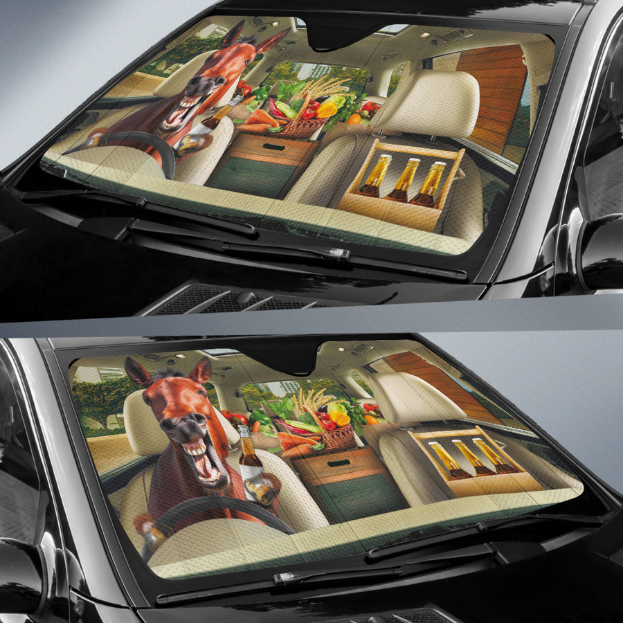Funny Horse Drinks Beer Right Hand Drive Auto Sun Shade