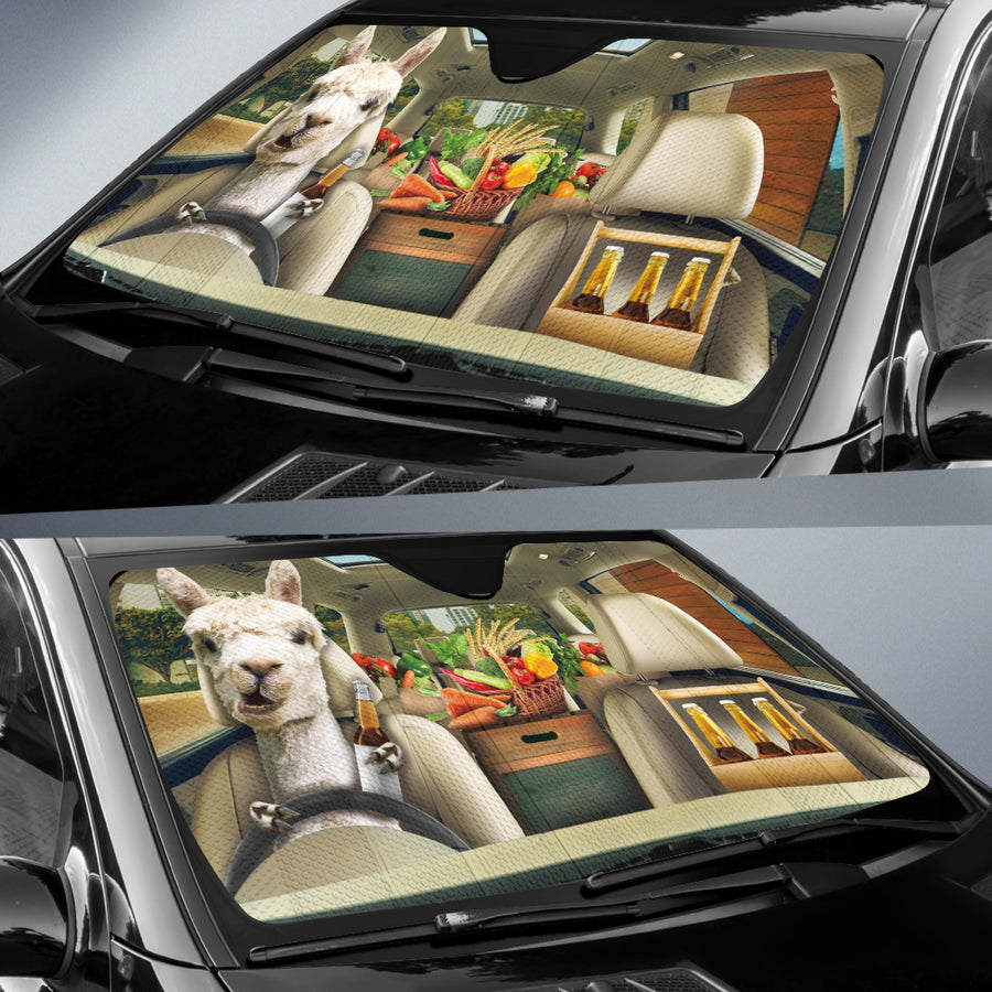 Funny Llama Drinks Beer Right Hand Drive Auto Sun Shade