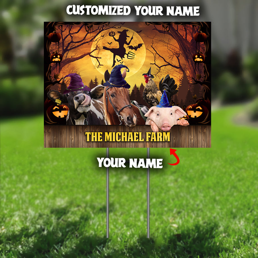 The Big Farm Animals Family Halloween Yard Sign