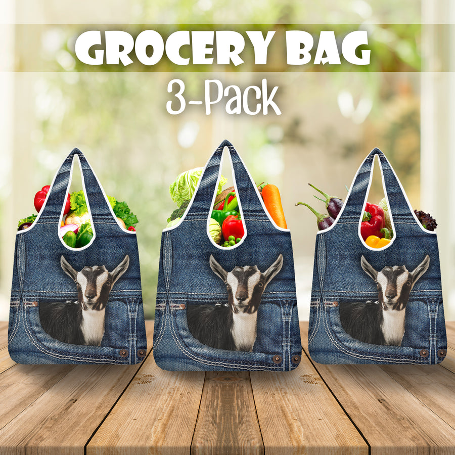 Goat Jeans Pattern Grocery Bag 3-Pack