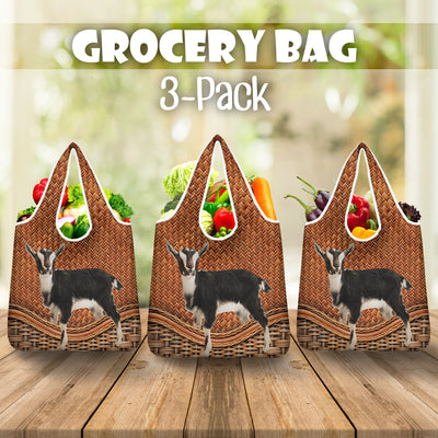 Goat Rattan Pattern Grocery Bag 3-Pack