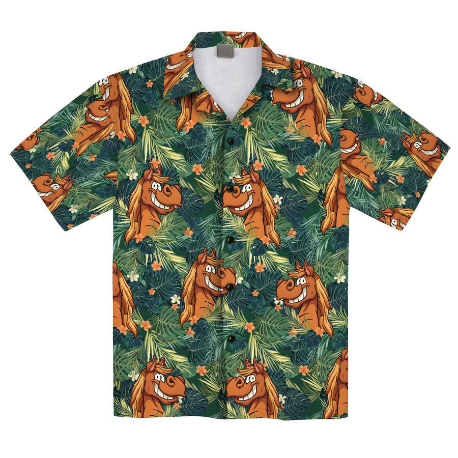 Funny Horses Tropical 2 Hawaiian Shirt