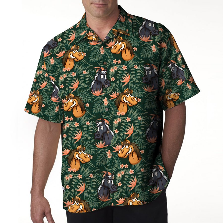 Funny Horses Tropical 4 Hawaiian Shirt