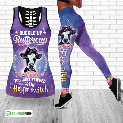 Heifer Switch Hollow Tank Top And Legging Set