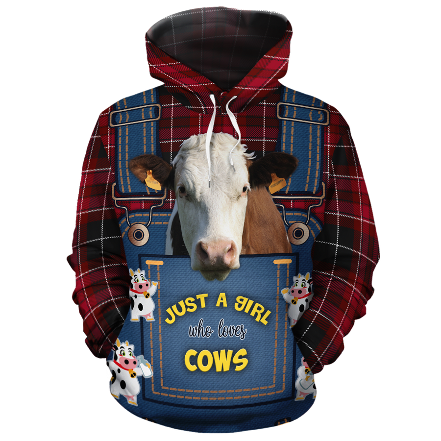 Just A Girl Who Loves Dairy Cow Jean Pattern  All-over Hoodie