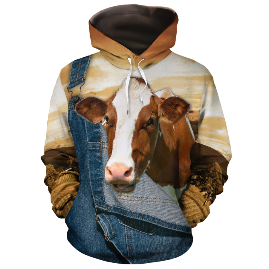 Farming Brown Dairy Cows All-over Hoodie And Leggings Set