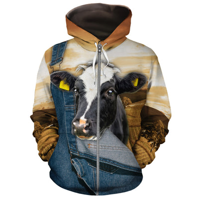 Farming Dairy Cow Jeans Pattern All-over Hoodie