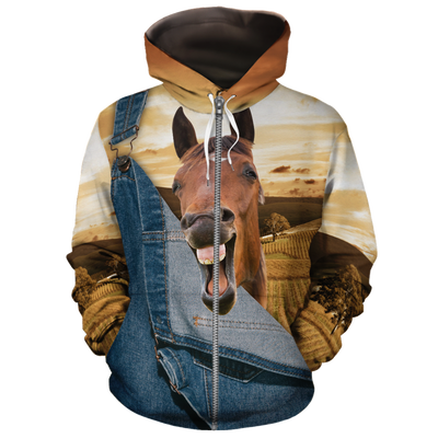 Farming Horse Jean Pattern All-over Hoodie