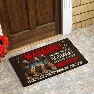 This Property Is Protected By Highly Trained Horses - Horses Doormat
