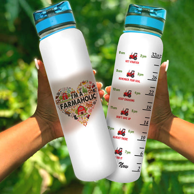 I'm A Farmerholic Water Tracker Bottle