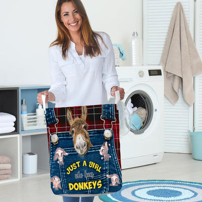Just A Girl Who Loves Donkey Laundry Basket