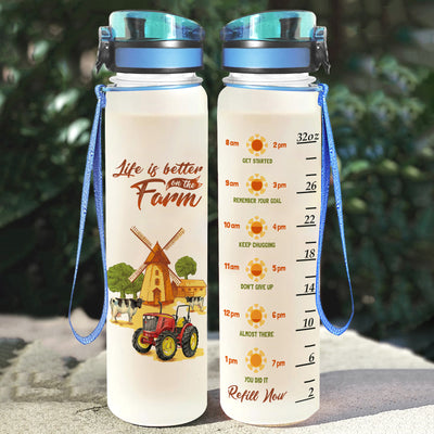 Life Is Better On The Farm Water Tracker Bottle