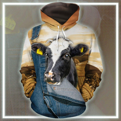 Farming Dairy Cow Jean Pattern All-over Hoodie