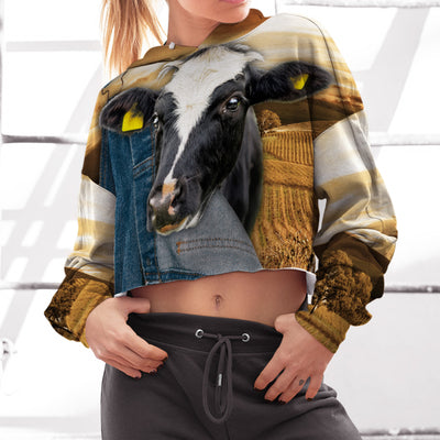 Farming Dairy Cow Jean Pattern Cropped Hoodie