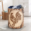 Chicken Wood Patterns Laundry Basket