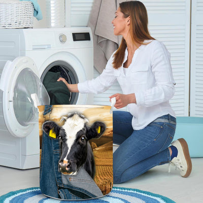 Farming Dairy Cow Laundry Basket