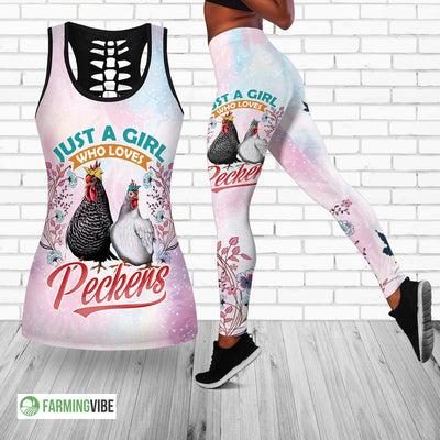 Just A Girl Who Loves Peckers Hollow Tank Top And Legging Set