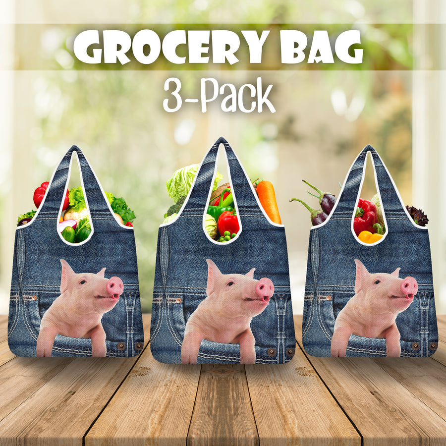 Pig Jeans Grocery Bag 3-Pack