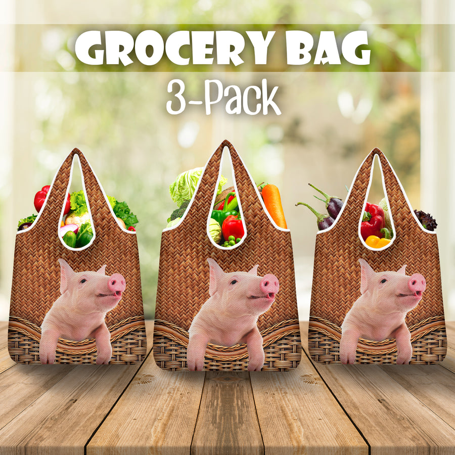 Pig Rattan Grocery Bag 3-Pack