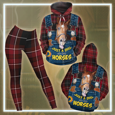 Just A Girl Who Loves Horses Red Chequer Pattern All-over Hoodie And Leggings Set