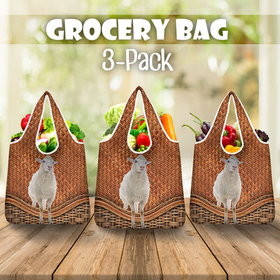 Sheep Rattan Grocery Bag 3-Pack