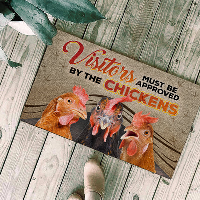 Visitors Must Be Approved By Chickens 2 Doormat