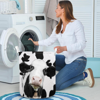 Adorable Face Dairy Cow Laundry Basket