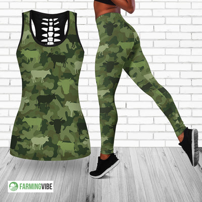 Cows Camo Hollow Tank Top And Legging Set