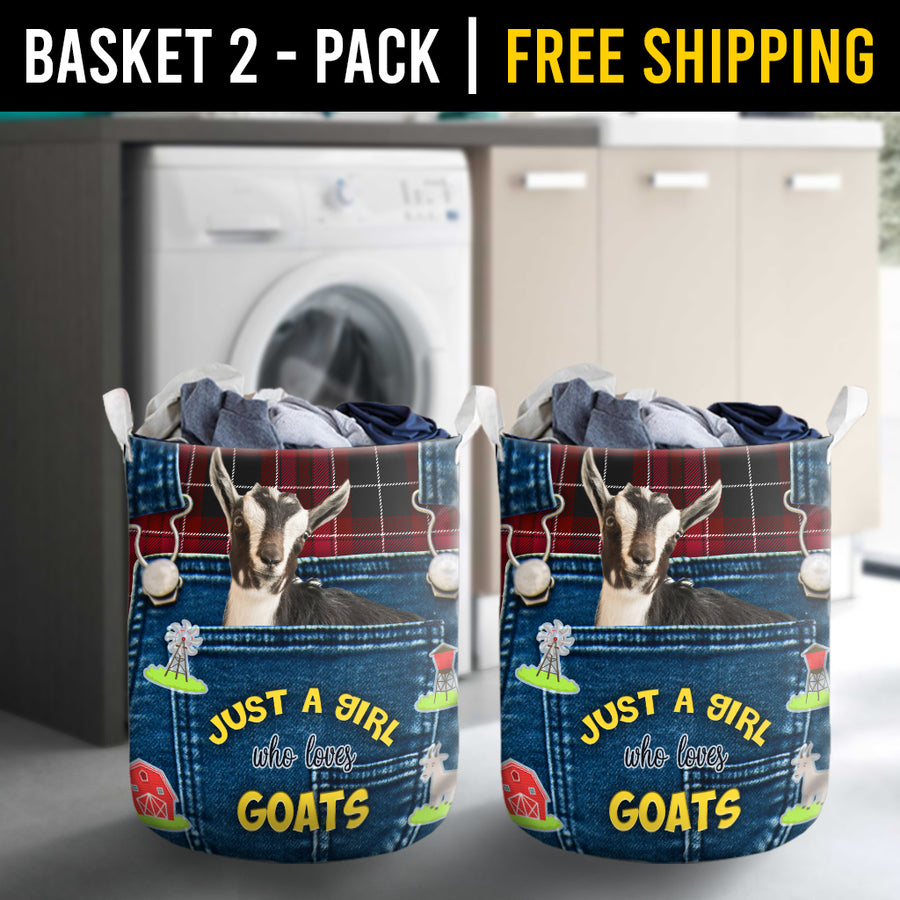 Just A Girl Who Loves Goats Laundry Basket