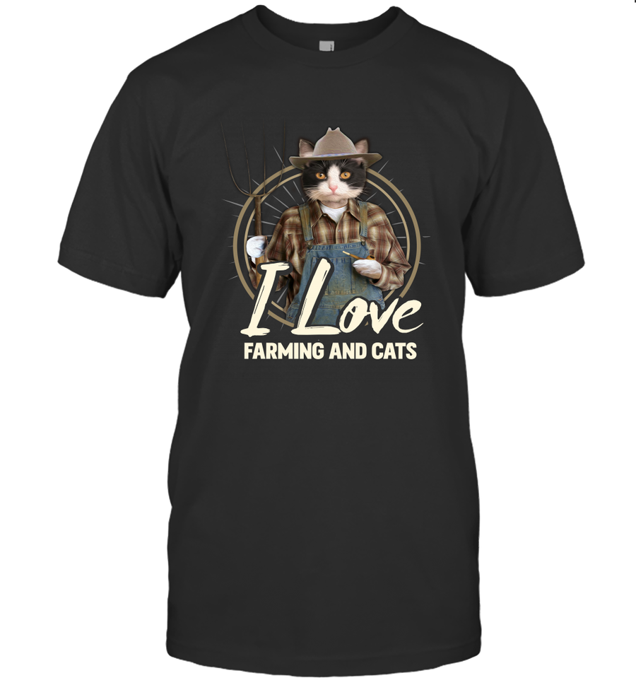 I Love Farming And Cats  2D T Shirt