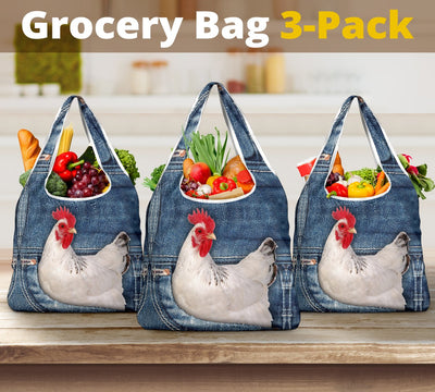 Chicken Jeans Grocery Bag 3-Pack