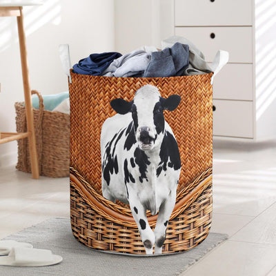 Dairy Cow Rattan Pattern Laundry Basket