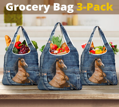 Horse Jeans Grocery Bag 3-Pack