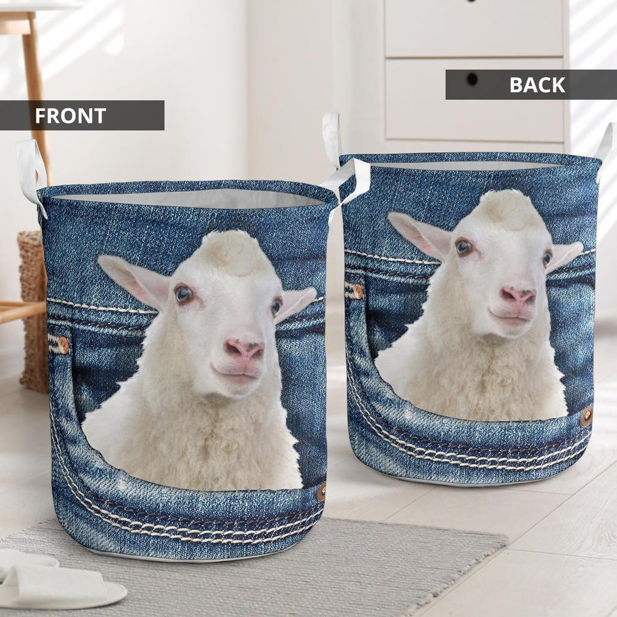 Sheep Jeans Pattern Laundry Basket