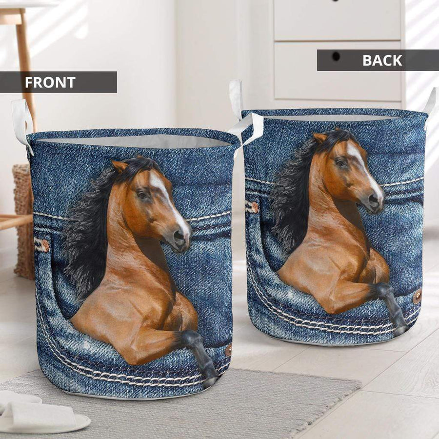 Horse Jeans Pattern Laundry Basket