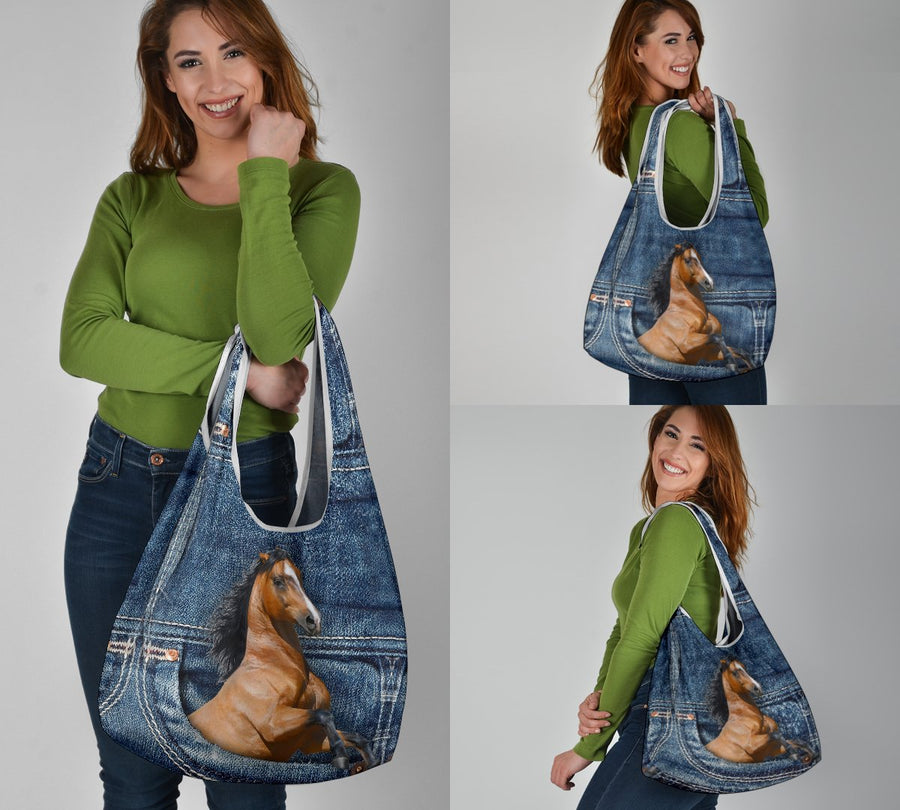 Horse Jeans Pattern Grocery Bag 3-Pack