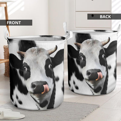 Cute Face Dairy Cow Laundry Basket
