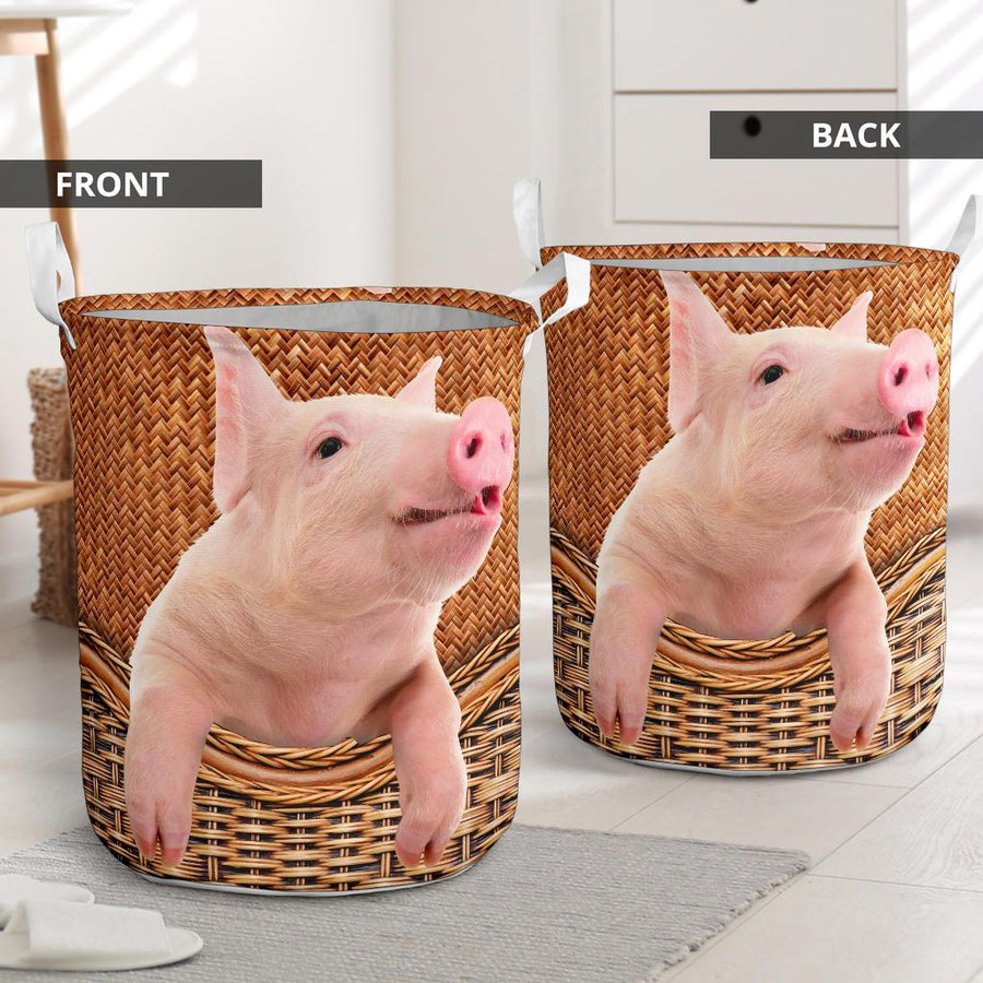 Pig Rattan Pattern Laundry Basket