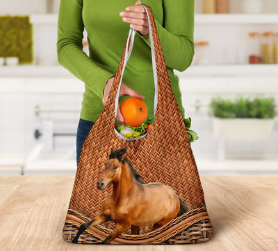 Horse Rattan Grocery Bag 3-Pack