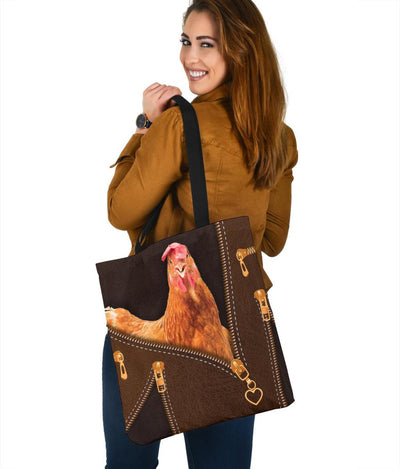 Chicken Zip Tote Bag