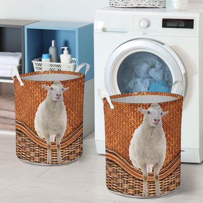 Sheep Rattan Pattern Laundry Basket